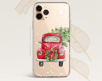 iPhone 12 Case Christmas Truck iPhone 11 Pro Case Clear iPhone 11 Pro Max iPhone XS iPhone XS Max iPhone XR iPhone X Case iPhone 8 Case H23