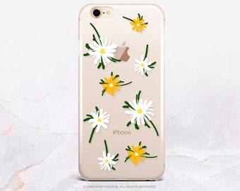 iPhone X Case iPhone 8 Case iPhone 7 Case Daisies Floral Clear GRIP Rubber Case iPhone 7 Plus Clear Case iPhone SE Case Samsung S8 Case U398