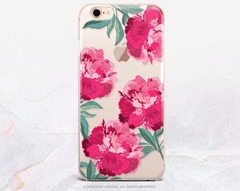 iPhone 8 Case iPhone X Case iPhone 7 Case Peonies Clear GRIP Rubber Case iPhone 7 Plus Clear Case iPhone SE Case Samsung S8 Plus Case U396