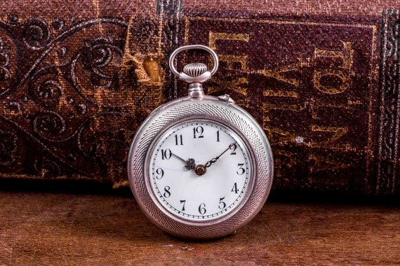 Silver pocket watch,swiss pocket watch,pendant wat