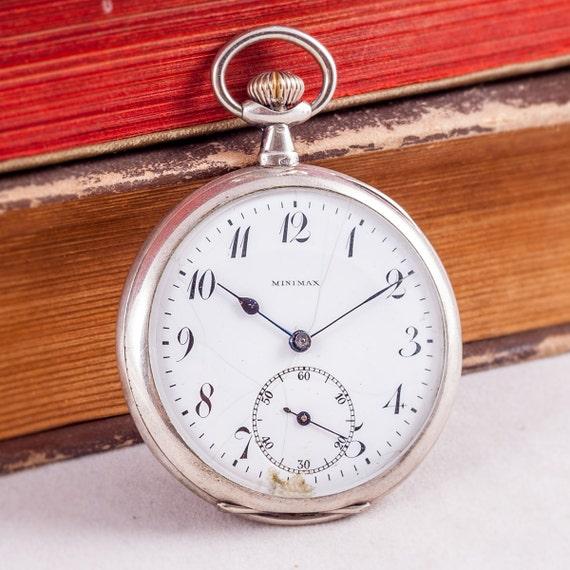 Silver pocket watch, Minimax watch, vintage pocket