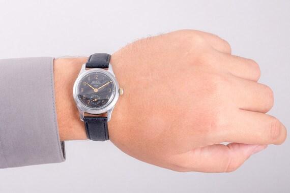 Raketa Herrenuhr, Vintage Herrenuhr, schwarzen Zifferblatt Uhren, Uhr, UdSSR Herren Uhr für Männer, Herrenuhren, Herren lederarmbanduhr, Retro Uhren