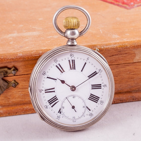 rare pocket watch,Remontoire watch,silver pocket w