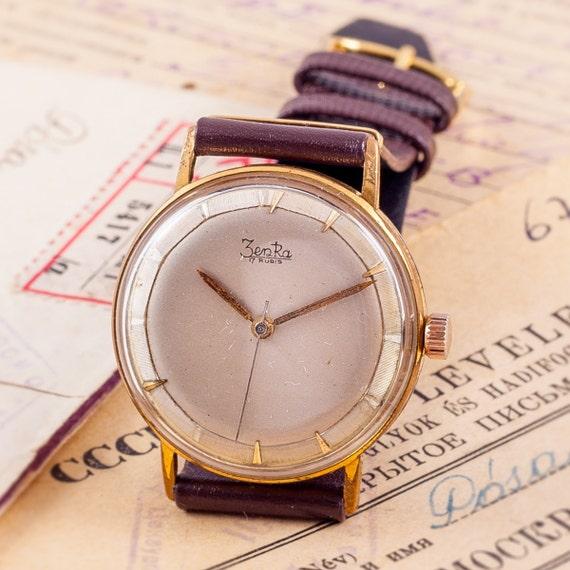 orologio da uomo in oro, tedesco orologio, orologio Zentra, orologio meccanico, orologio marrone, pelle orologio, vento fino orologio, elegante