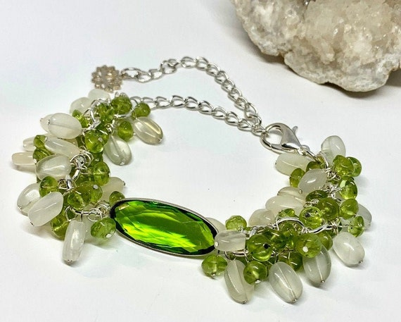18-Inch Hamilton Gold Plated Necklace with 4mm Peridot Birthstone Beads and Heart Charm Green Peridot August Birthstone