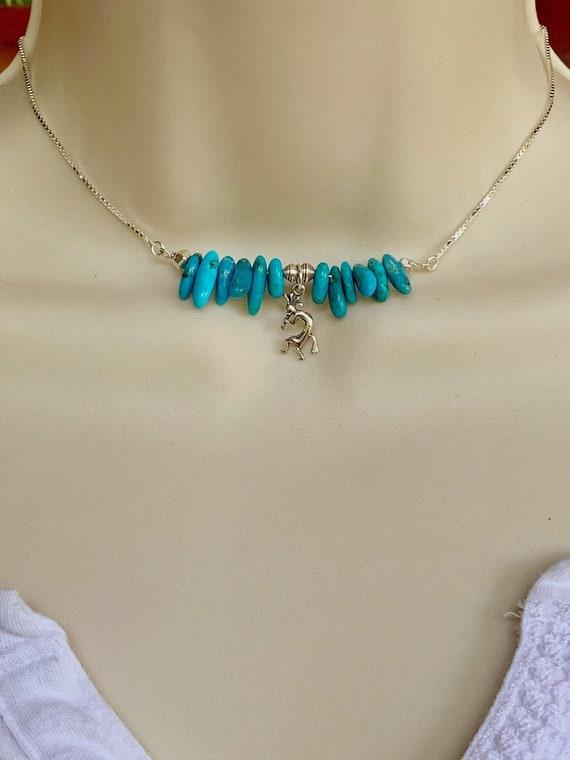 Sterling Silver Womens 1mm Box Chain Kokopelli Pendant Necklace