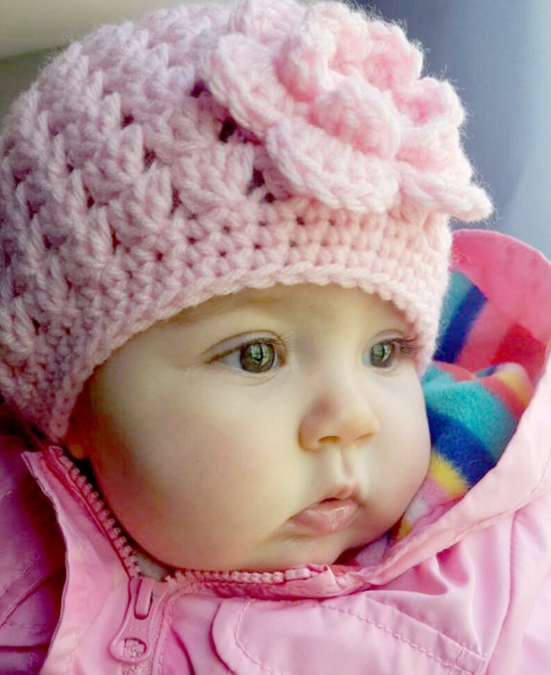 1eb1d6311f8 BABY GIRL HATS Crochet Pink Baby Hat Knit Girls Hat Baby