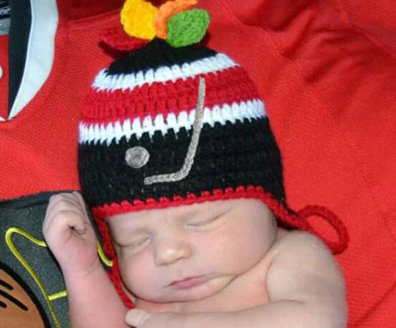 Crochet Baby Hockey Hat, Baby Boy Hats, Hockey Crochet Baby Boy Hockey Knit  Baby Hockey, Newborn Hockey Gifts, Red Black Hockey Earflap Hat