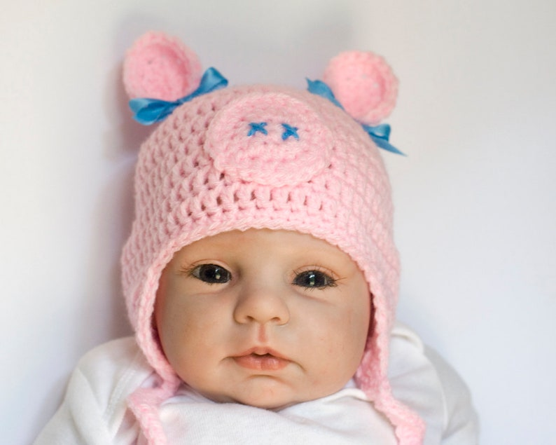 Baby Pig Hat Baby Girl Hats Pink Pig Hat Crochet Pig Hat Etsy
