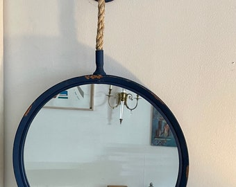 Coastal Navy hanging on a rope circle mirror