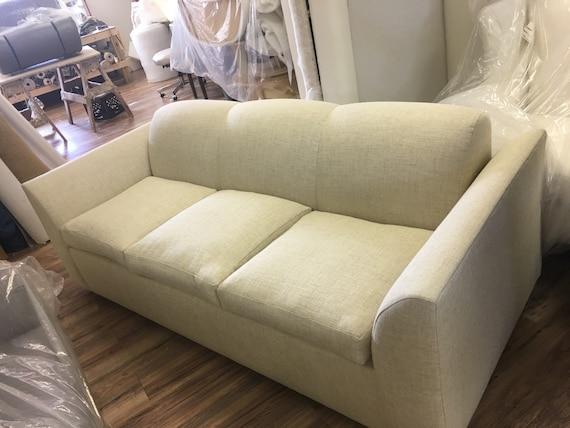 Mid Century Style Sofa Tight Back Cream Color   Etsy