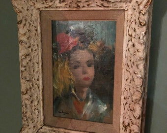 """Jean Calogero oil painting Ca 1950-1960 measures 14x12 original """"Anik"""""""