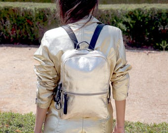 Metallic gold  leather backpack purse - gold leather satchel  SALE handmade leather bags- rucksack- laptop backpack - women leather backpack