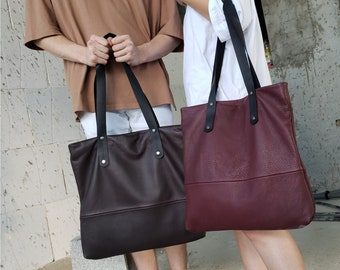 Black leather tote with zipper black leather bag women SALE soft leather handbag- leather shoulder bag large leather bag slouchy leather bag