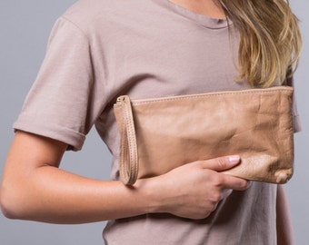 Brown leather wristlet purse- leather clutch with zipper SALE cash envelope wallet- leather bag- travel purse- handmade leather clutch women