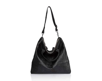 5707dab0f0 Woven Black Leather hobo bag- Convertible soft Leather bag crossbody bags  leather backpack leather shoulder bag gold leather tote bag