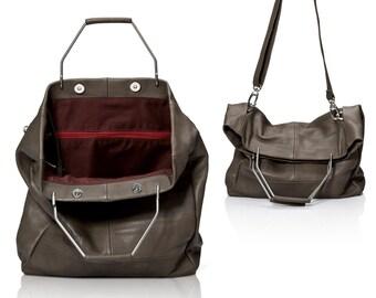 5bd6c00b2dd4 Gray leather bag - leather tote purse - women handbags SALE multi-way  leather hobo bag - crossbody bag - leather shoulder bag