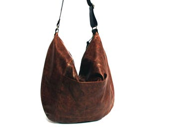 0f4aa5a4b4 Brown Leather bag - Hobo leather bag - soft leather purse SALE leather  shoulder bag - crossbody bag - large leather bag - large hobo bag