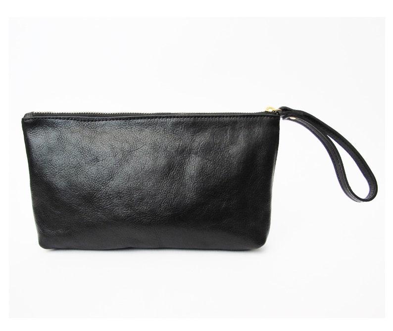 a5acc08af03f1 Black leather clutch soft leather purse SALE wristlet cash | Etsy