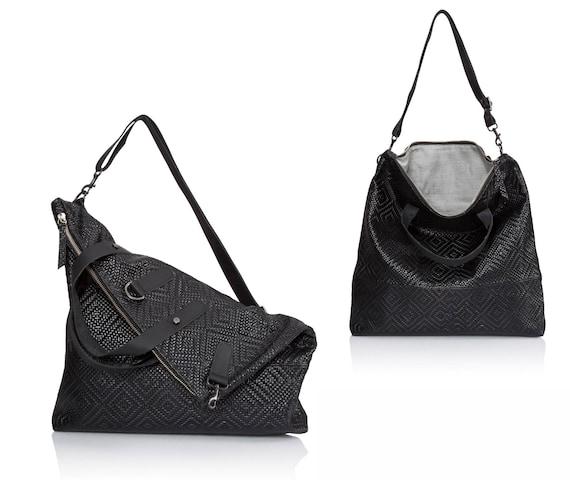29dd8b60ee3 Woven black crossbody bag Convertible Leather sling bag SALE   Etsy