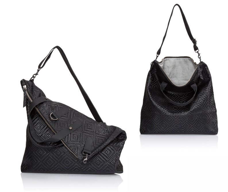 2b2f760da8 Woven black crossbody bag Convertible Leather sling bag SALE