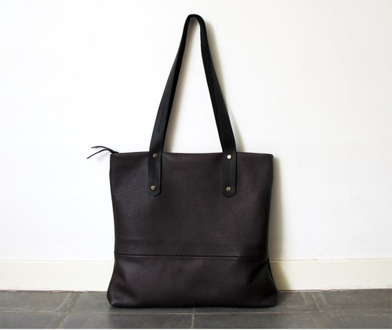 Dark Brown leather tote with zipper brown leather bag women   Etsy 9356c92752