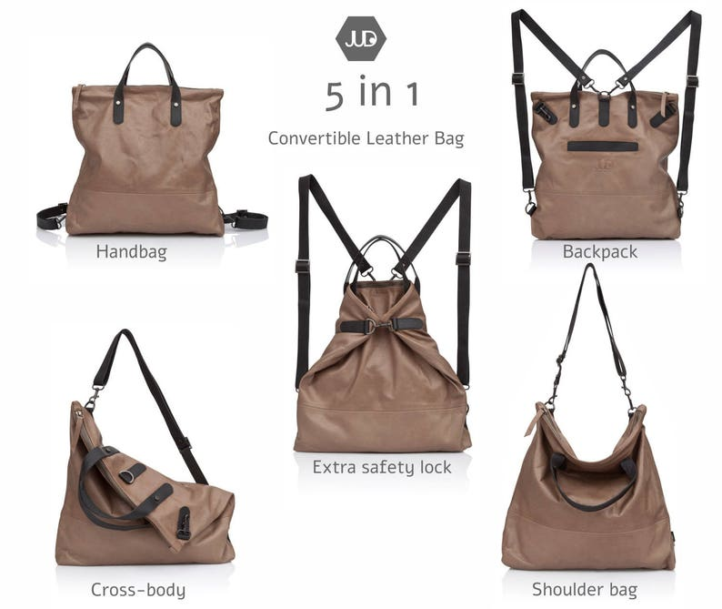 2c41f15c176d Walnut brown Convertible leather backpack tote Laptop leather