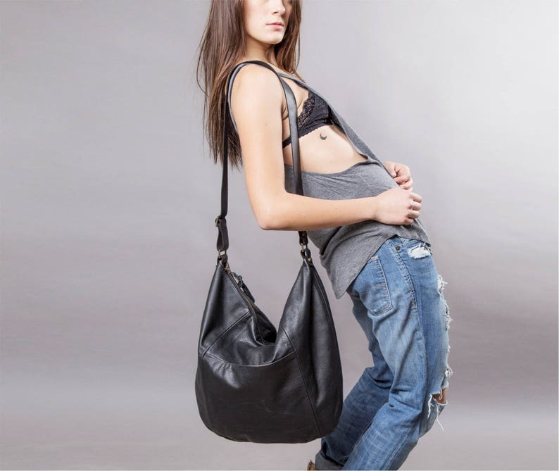 0066df36fb Black Leather bag large leather purse SALE Hobo leather bag