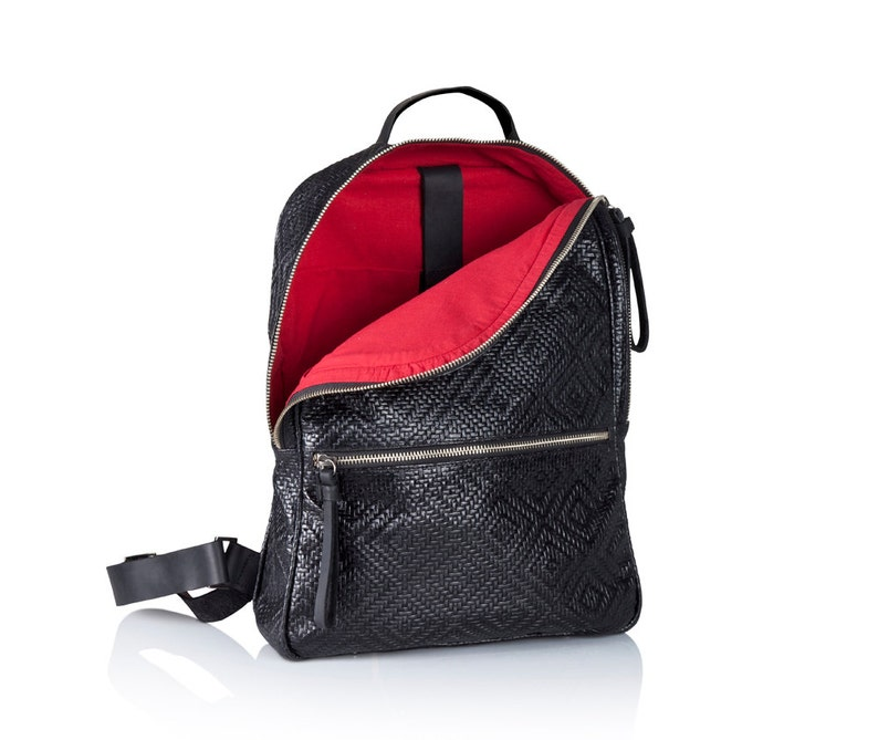 89a88018eac Woven black leather backpack purse women black leather back bag SALE  handmade leather bags leather rucksack laptop backpack women backpacks