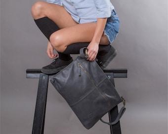 Gray leather bag women soft leather purse SALE leather shoulder bag crossbody bag - women messenger bag - leather purse