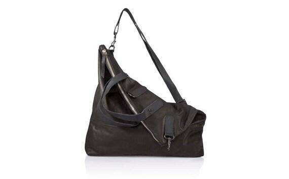 Black Leather Crossbody Bag Convertible Soft Leather Bag Sale Etsy