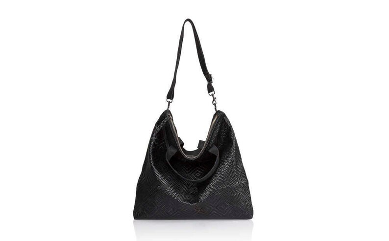 95436e27ca Woven Black Leather hobo bag Convertible soft Leather bag