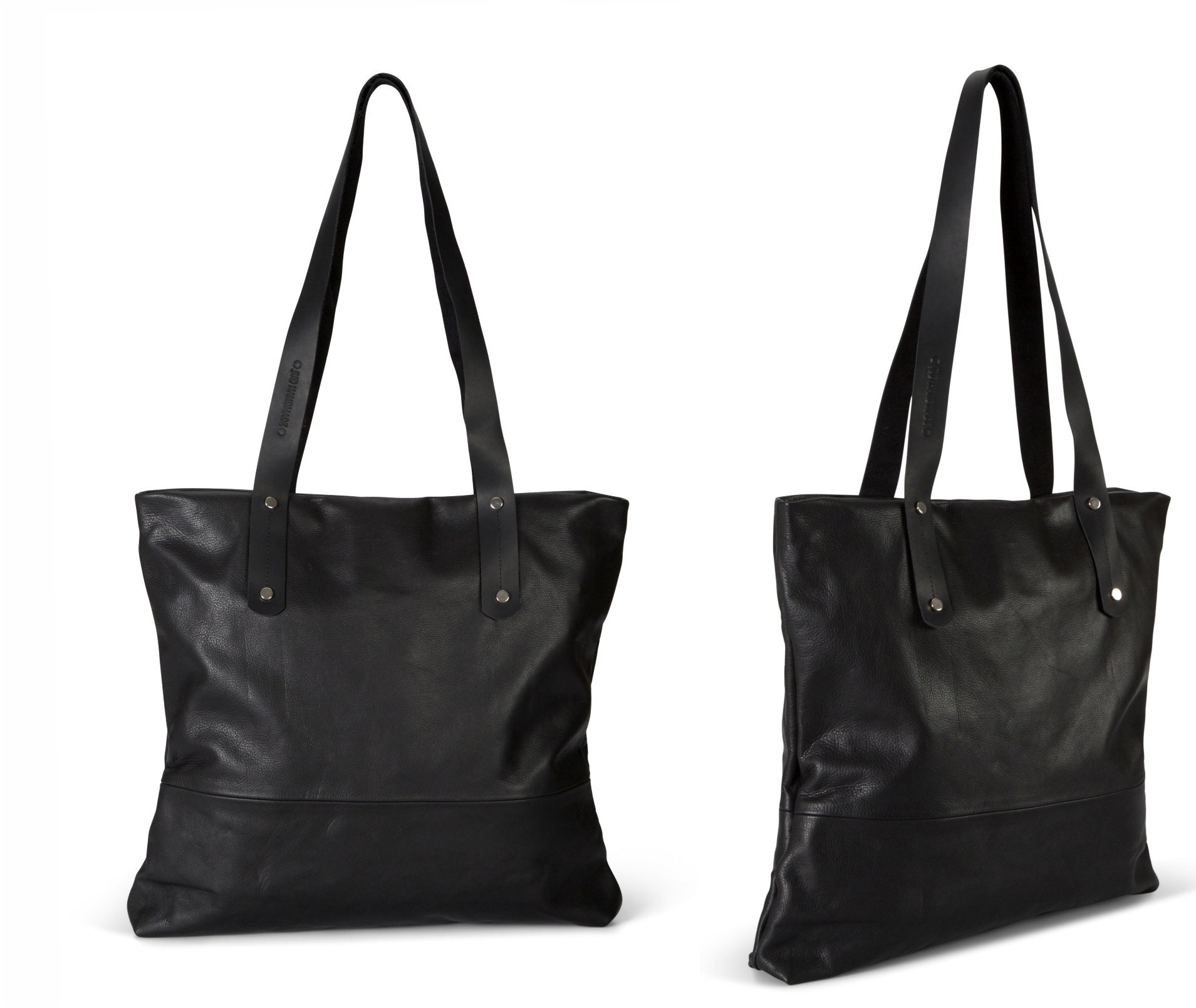 ab2606b8373 Black leather tote with zipper black leather bag women SALE   Etsy
