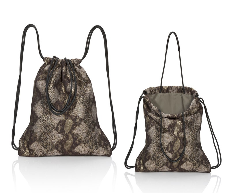 ac8835e1fd Brown python backpack purse convertible backpack tote SALE
