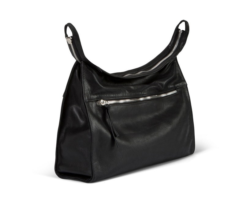2IN1 Convertible Leather bag Black leather bag hobo leather  1f62b973a560d