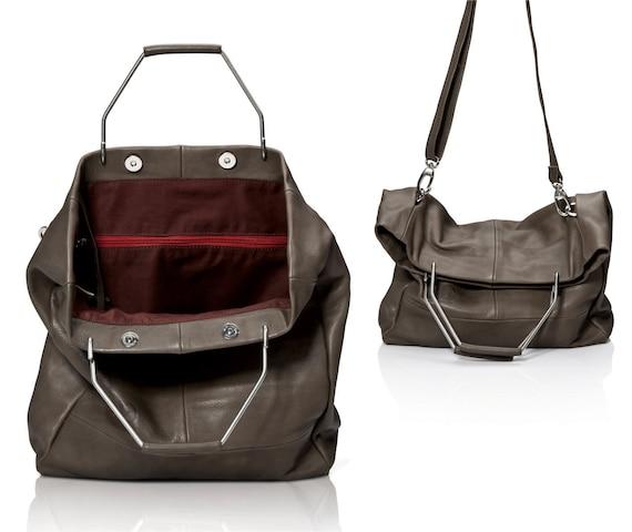 927d2207af76 Gray leather bag leather tote purse women handbags SALE