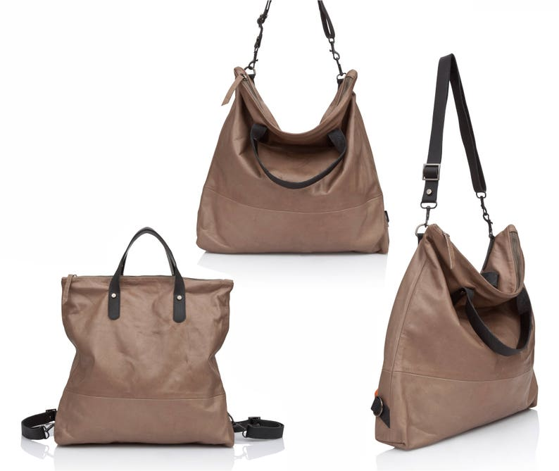 8f1294ac9e Walnut brown Leather hobo bag Convertible soft Leather bag