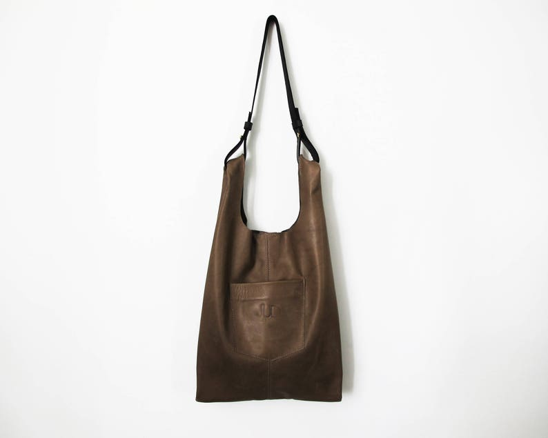 70c60d83d2df Gray leather tote crossbody shopper leather bag SALE slouchy