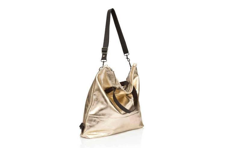 655419ffab Metallic Gold Leather hobo bag Convertible soft Leather bag