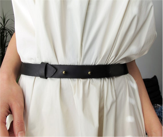 Dress Tunic Jumper BLACK Real Leather O-Ring Belt 25mm Wide Size Small