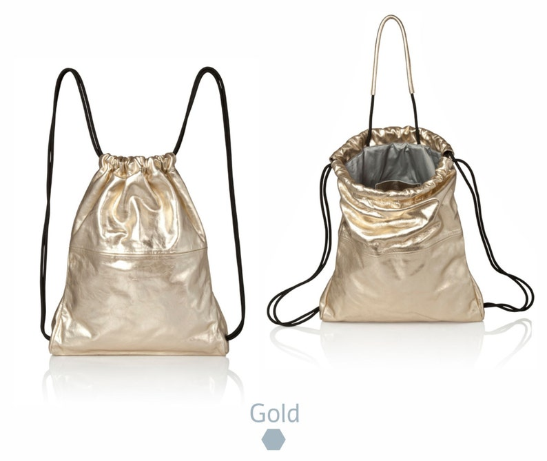 832e25c2c1a Metallic Gold Leather backpack purse - metallic leather bag SALE women  backpack - laptop backpack- drawstring backpack gold leather rucksack