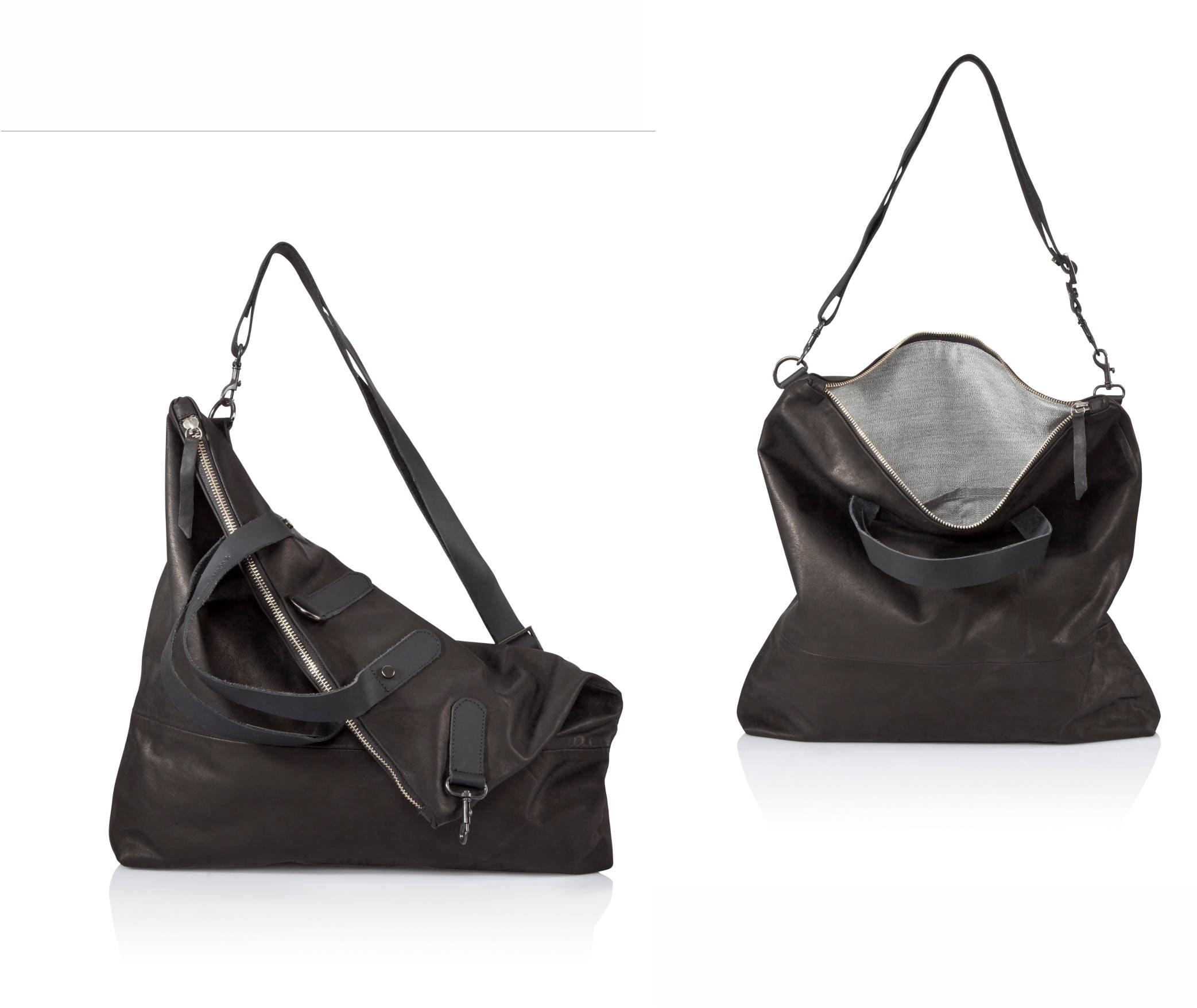 49c05633b9be Black Leather crossbody bag Convertible Leather sling bag