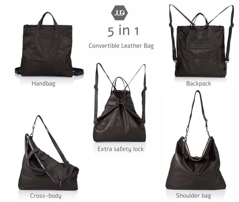 51e2d1835 Soft black leather diaper bag Backpack 5IN1 Convertible bag | Etsy