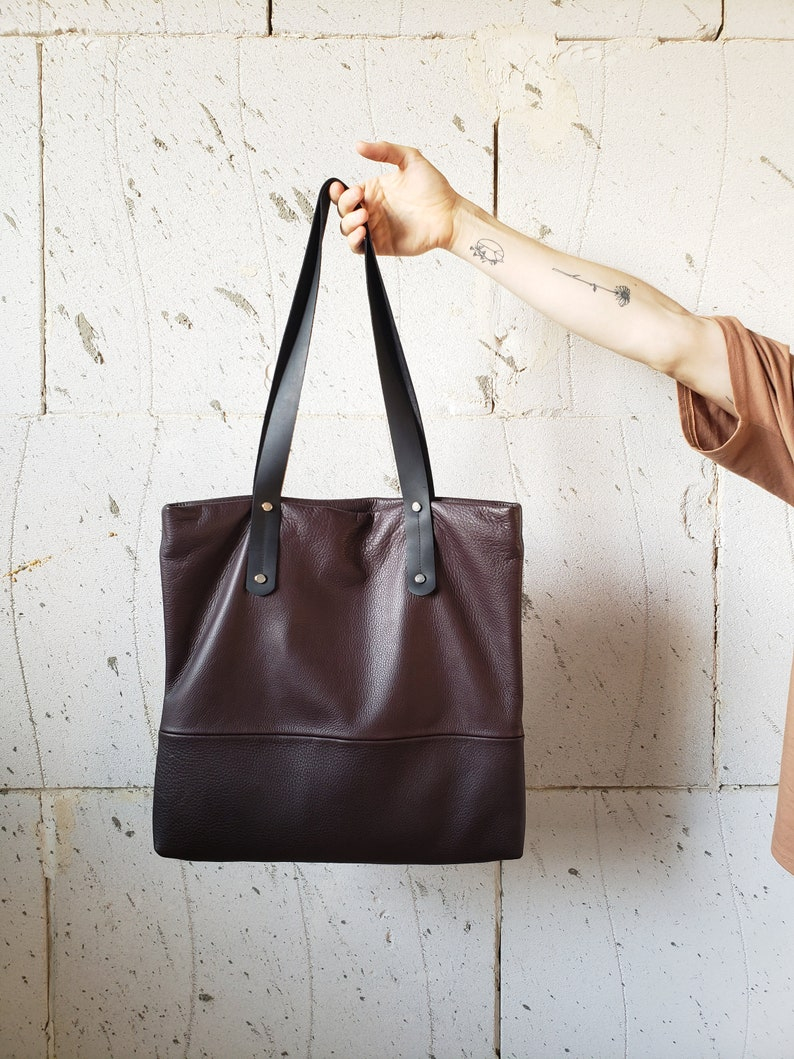 Brown leather tote with zipper brown leather bag women SALE soft leather  handbag leather shoulder bag large leather bag ... a5cbe7250f87f