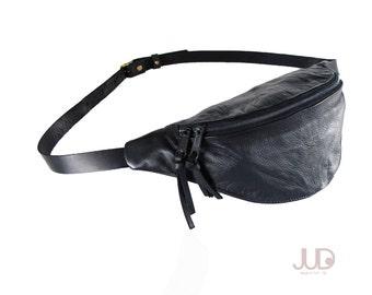 Black leather fanny pack - hip bag- waist Purse - black leather bag SALE waist pack holster - soft black leather pouch- leather shoulder bag