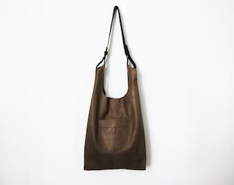 Olive gray leather bag - Leather tote bag SALE everyday bag shoulder bag - leather handbag - shopper bag gray leather bag brown leather bag