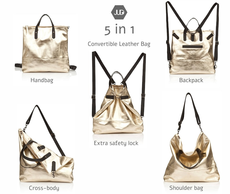 Metallic gold leather diaper bag Backpack 5 IN 1 Convertible bag mothers leather bag mom diaper backpack baby bag leather new mom gift
