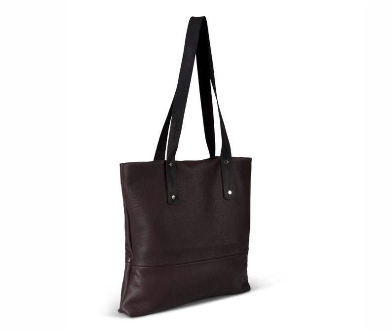 Coffee brown leather tote with zipper brown leather bag women  0505dee53d7b9