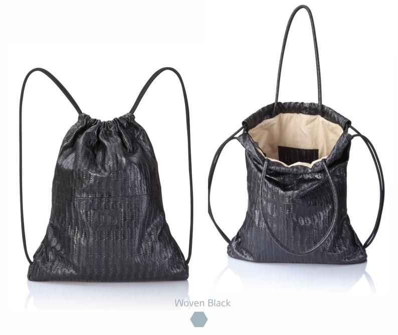 934591da10 Backpack black woven leather back pack purse SALE multi
