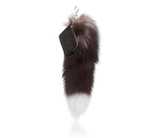 Faux fur tail keychain black and white fox tail fur keychain  df42dbc8dd15